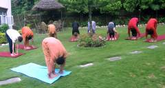 suryanamaskara practice on lawn  » Click to zoom ->